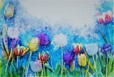 Tulips Watercolor Wall Art - Painting - Tulip Garden by ArtMarketJapan