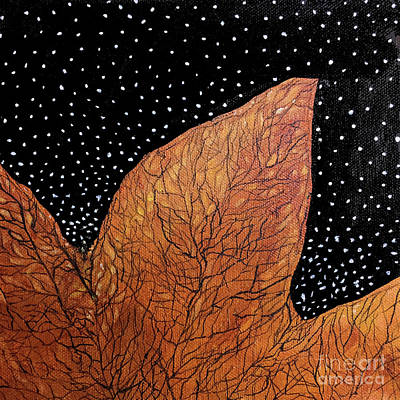 Painting - Tulip Poplar Leaf Black Background by Lizi Beard-Ward