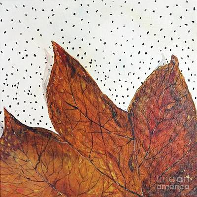 Painting - Tulip Poplar Leaf On White by Lizi Beard-Ward