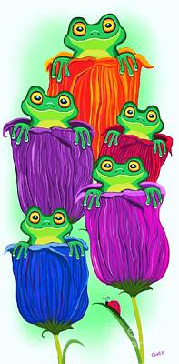 Digital Art - Tulip Tree Frogs by Nick Gustafson