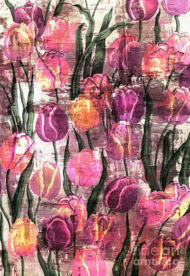 Mixed Media Royalty Free Images - Tulips Abstract Royalty-Free Image by Jacky Gerritsen