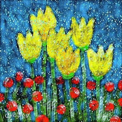 Digital Art - Tulips In The Snow by Caroline Street