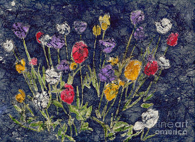 Farm Life Paintings Rob Moline Royalty Free Images - Tulips Watercolor Batik Royalty-Free Image by Conni Schaftenaar