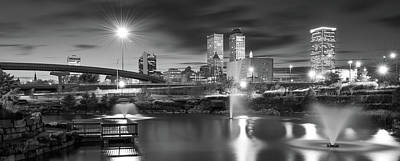 Photograph - Tulsa Bw Skyline And Downtown Evening Lights Panorama by Gregory Ballos