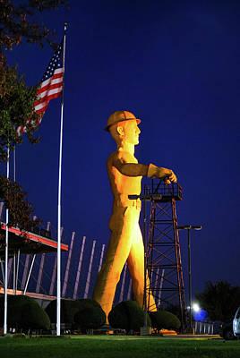 Photograph - Tulsa Golden Driller And Usa Flag by Gregory Ballos