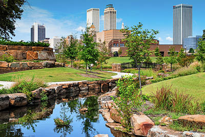 Photograph - Tulsa Oklahoma Centennial Park Skyline by Gregory Ballos