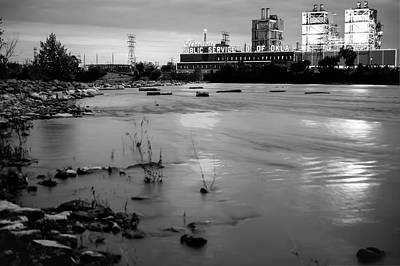 Photograph - Tulsa Oklahoma Riverside Pso Plant - Black And White by Gregory Ballos