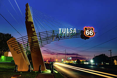 Royalty-Free and Rights-Managed Images - Tulsa Oklahoma Route 66 Western Gateway Arch by Gregory Ballos