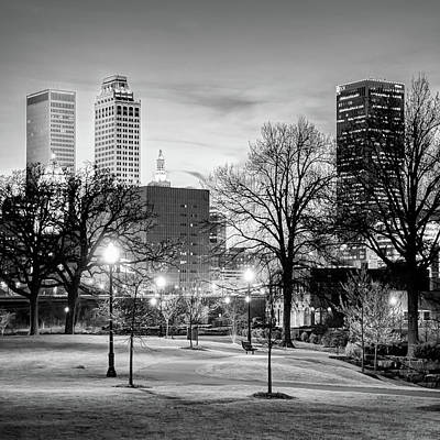 Photograph - Tulsa Oklahoma Skyline From Centennial Park - Square Monochrome by Gregory Ballos