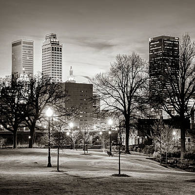 Photograph - Tulsa Oklahoma Skyline From Centennial Park - Square Sepia by Gregory Ballos