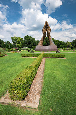 Photograph - Tulsa Praying Hands And Cross Landscape - Oral Roberts University by Gregory Ballos
