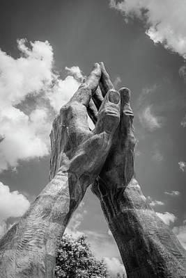 Photograph - Tulsa Praying Hands Sculpture - Monochrome by Gregory Ballos