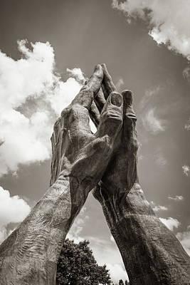 Photograph - Tulsa Praying Hands Sculpture - Sepia by Gregory Ballos