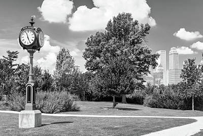 Photograph - Tulsa Skyline And Centennial Park Clock - Black And White by Gregory Ballos