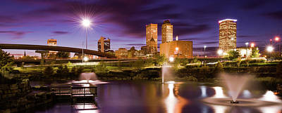 Photograph - Tulsa Skyline And Downtown Evening Lights Panorama by Gregory Ballos