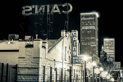 Photograph - Tulsa Skyline From Historic Cain's Ballroom - Sepia by Gregory Ballos