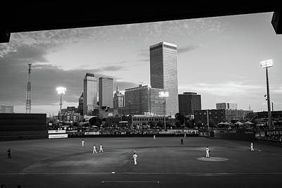 Photograph - Tulsa Skyline From Oneok Driller Stadium Seats - Black And White by Gregory Ballos