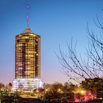 Photograph - Tulsa University Tower At Dawn - Oklahoma by Gregory Ballos