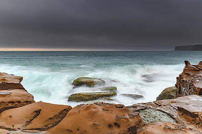 Wild And Wacky Portraits - Turbulent Dawn Seascape from Sandstone Headland by Merrillie Redden