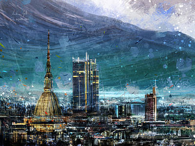 Surrealism Royalty-Free and Rights-Managed Images - Turin Cityscape by Andrea Gatti