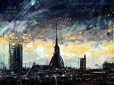 Surrealism Digital Art - Turin Dark Skyline by Andrea Gatti