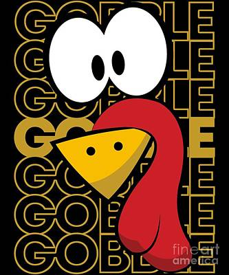 Digital Art - Turkey Face Gobble Gobble by Flippin Sweet Gear