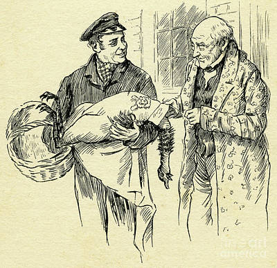 Drawing - Turkey Is Delivered On Christmas Day From Mr Scrooge by Harold Copping