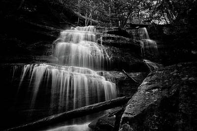 Photograph - Turkey Path Waterfall Bw by David Oakill