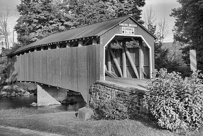Photograph - Turkey Trail Covered Bridge Black And White by Adam Jewell