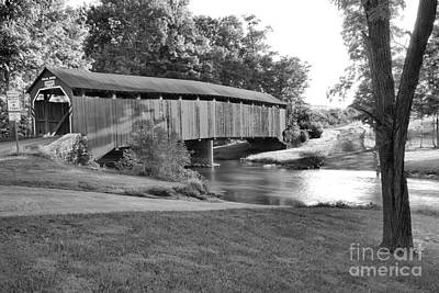 Photograph - Turkey Trail Covered Bridge Over Sherman Creek Black And White by Adam Jewell