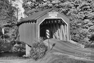 Photograph - Turkey Trail Covered Bridge Sunset Black And White by Adam Jewell
