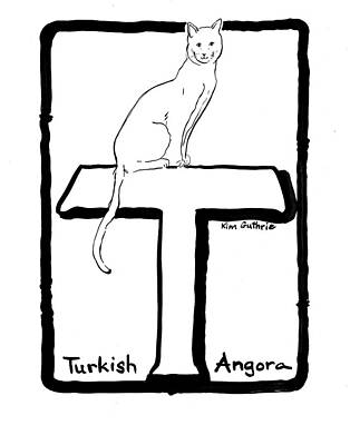 Wall Art - Painting - Turkish Angora Cat Drawing by Kim Guthrie