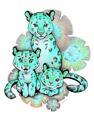 Drawing - Turquoise Leopards by Sipporah Art and Illustration