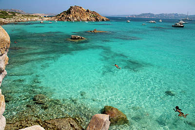 Turquoise Sea And Boats At La Maddalena Art Print