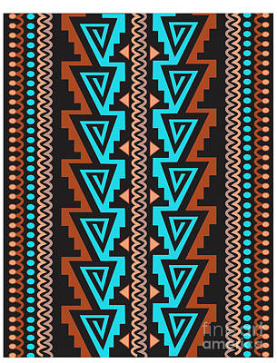 Digital Art - Turquoise Triangle Pattern by Shelley Myers