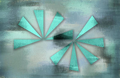 Digital Art - Turquoise Triangles On Blue Grey Backdrop by Jason Fink