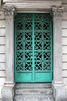 Photograph - Turquoise Wrought Iron Doorway Gate by Debi Dalio