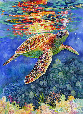Animal Paintings David Stribbling - Turtle Reflections by Hailey E Herrera