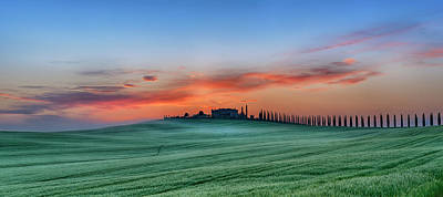Photograph - Tuscan Farmhouse With Cypress Trees At by Martin Ruegner
