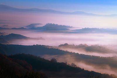 Mannequin Dresses - Tuscany Italy Foggy Countryside by Joan Carroll
