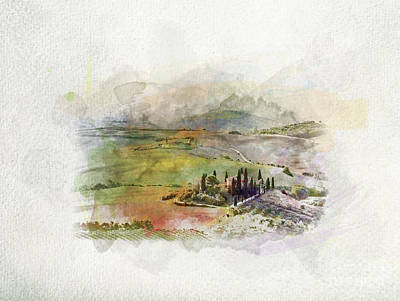 Photograph - Tuscany Landscape At Sunrise In Watercolors. by Michal Bednarek