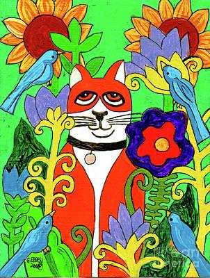 Tuxedo Cat With Four Bluebirds In Garden Original
