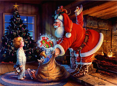 Fireplace Painting - 'twas The Night Before Christmas by Michael Humphries