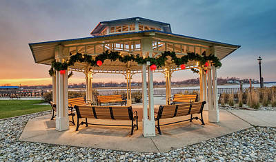 Photograph - Twilight Christmas At Keyport Gazebo by Gary Slawsky