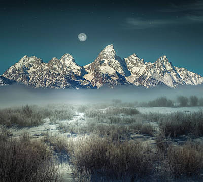 Photograph - Twilight Glow / Grand Tetons  by Nicholas Parker