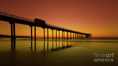 Photograph - Twilight On The Beach Scripps Pier La Jolla San Diego Ca by Edward Fielding