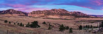 Katharine Hepburn - Twilight Panorama of Flatirons Mountain Range in Boulder - Front Range Colorado by Silvio Ligutti