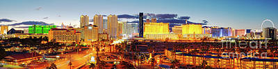 Photograph - Twilight Panorama Of Las Vegas Skyline And Hotels - Clark County Nevada - Mojave Desert by Silvio Ligutti
