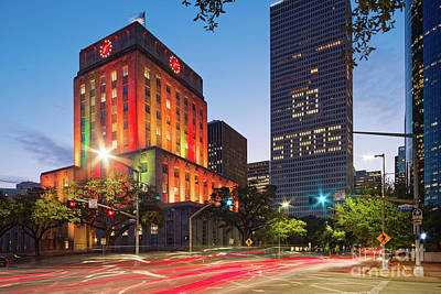 Photograph - Twilight Photograph Of Houston City Hall Astros Baseball World Series 2017 - Downtown Houston by Silvio Ligutti