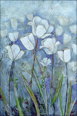 A White Christmas Cityscape - Twilight Tulips by Shadia Derbyshire